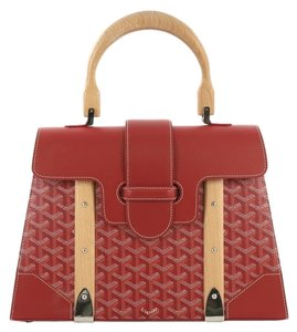 Goyard Saigon Top Handle Coated Canvas Leather Mm Satchel in red