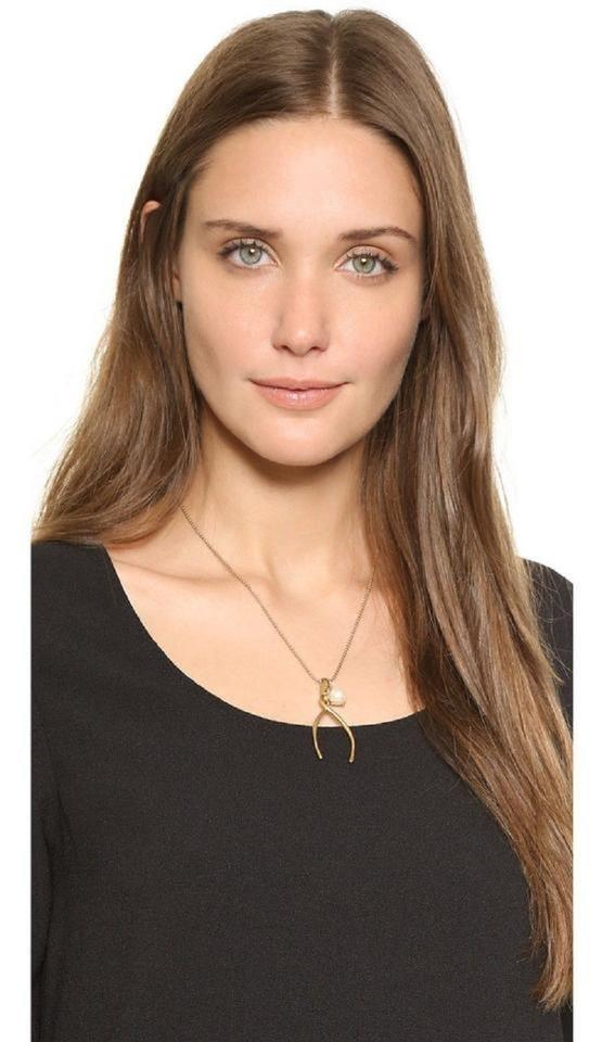 5bf75b8afa6d4 Tory Burch Gold Plated Wishbone with Swarovski Pearl Necklace 60% off retail