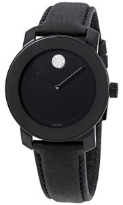 Movado Leather Strap Crystal Dot 3600483