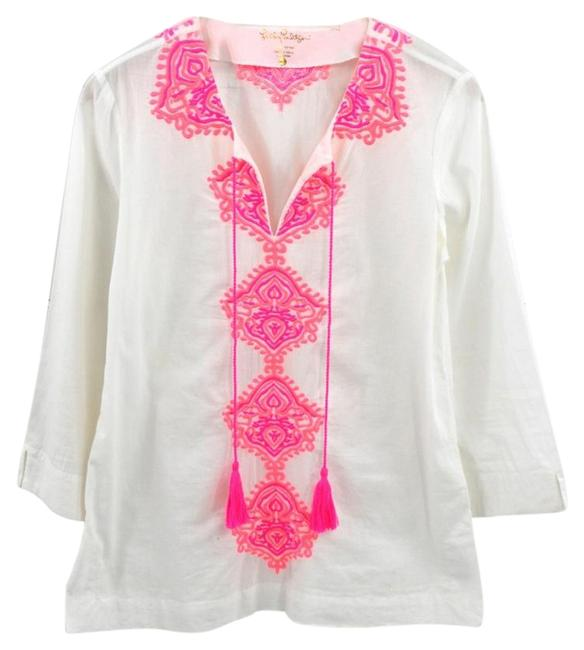 Item - White/ Pink Embroidered Tunic #169-3 Blouse Size 4 (S)