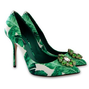 Dolce&Gabbana Leather Satin Floral Studded Green, White Pumps