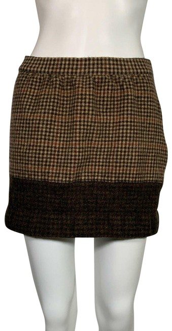 Item - Brown Houndstooth Wool Mini Skirt Size 4 (S, 27)