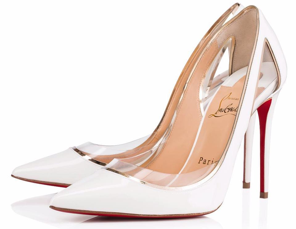 new concept 928f7 e1c73 Christian Louboutin White Cosmo 554 100mm Patent Pvc Light Gold Clear Heels  B814 Pumps Size EU 38.5 (Approx. US 8.5) Regular (M, B) 31% off retail