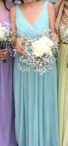 David's Bridal Mint / Light Green Mesh Long with Cowl Back Detail - Style F15933 Formal Bridesmaid/Mob Dress Size 0 (XS)