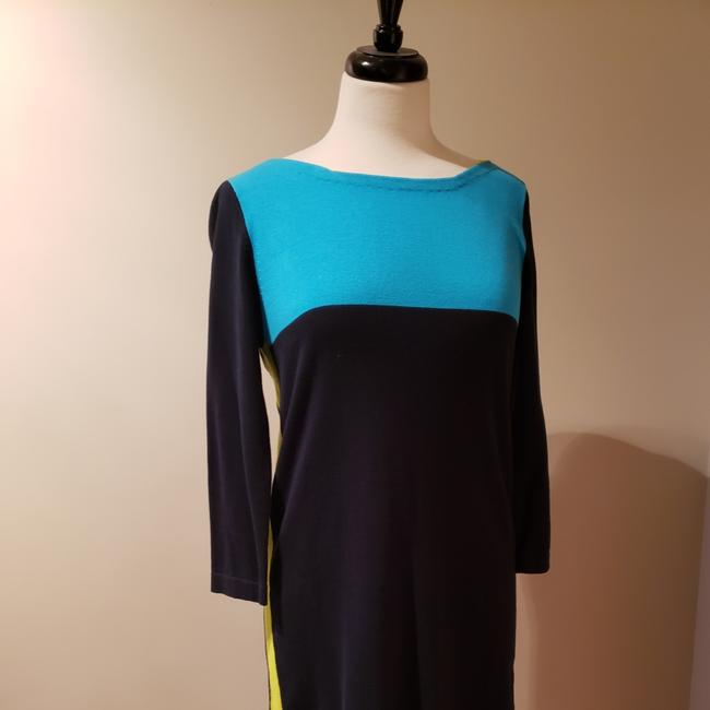 Item - Navy Blue Turquoise Lime 86804 Work/Office Dress Size 6 (S)