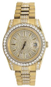 Jewelry Unlimited Mens Yellow Gold Stainless Steel Presidential Simulated Diamond Watch