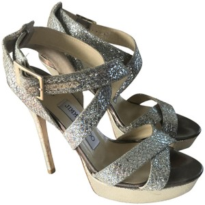 Jimmy Choo Strappy Gold Evening Stiletto Silver champagne Sandals