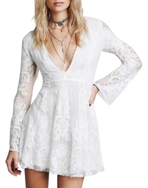 Item - White Reign Over Me Lace Short Casual Dress Size 6 (S)