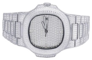Jewelry Unlimited Mens White Steel Iced Out 40MM PP Simulated Diamond Watch