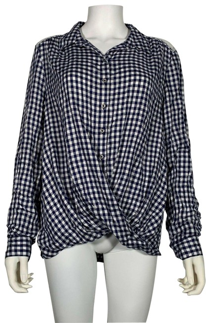 Item - Blue L Long Sleeve Plaid Women New Blouse Size 12 (L)