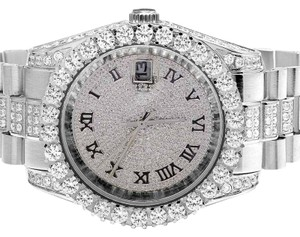 Jewelry Unlimited Mens Jewelry Unlimited White Gold Plated Simulated Diamond Watch 40MM