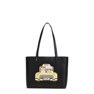 Karl Lagerfeld Choupette Saffiano Black Leather Bags Kitten Tote in TAXI YELLOW