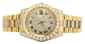Jewelry Unlimited Mens Jewelry Unlimited Yellow Gold Plated Simulated Diamond Watch 40MM