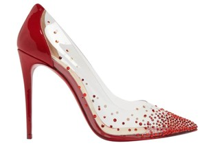Christian Louboutin Strassed Degrastrass 100mm Pvc red Pumps