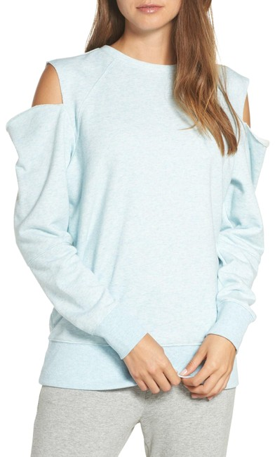 "Item - Blue Heather ""Tear It Up"" Cold Shoulder Tunic (Long) Sweatshirt Activewear Top Size 16 (XL, Plus 0x)"