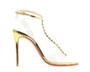 Christian Louboutin Hardware Leather Stiletto Gold Pumps