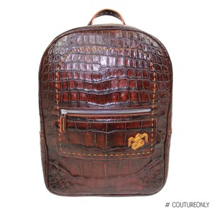 Aligatori Leather Croc Travel Unisex Leather Backpack