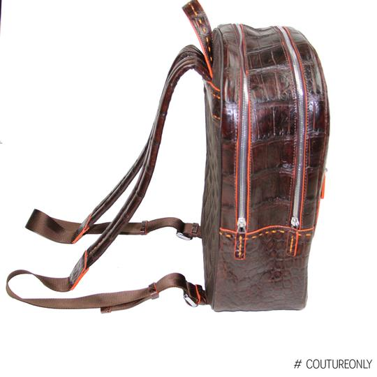 Aligatori Leather Croc Travel Unisex Leather Backpack Image 11