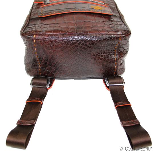 Aligatori Leather Croc Travel Unisex Leather Backpack Image 7