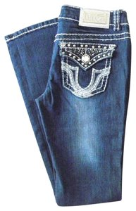Miss Chic Jeans Denim Stretch With Bling Boot Cut Jeans-Dark Rinse