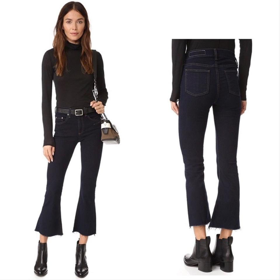 Rag Bone Dark Navy Blue Rinse High Crop Dune Capri Cropped Jeans Size 2 Xs 26 60 Off Retail