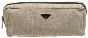 Prada 491415 Cream/Brown Linen Pouch Bag