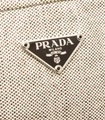 Prada 491415 Cream/Brown Linen Pouch Bag Image 4