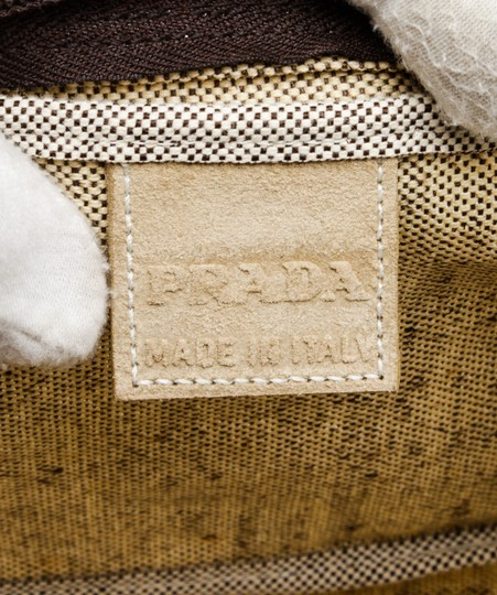 Prada 491415 Cream/Brown Linen Pouch Bag Image 5
