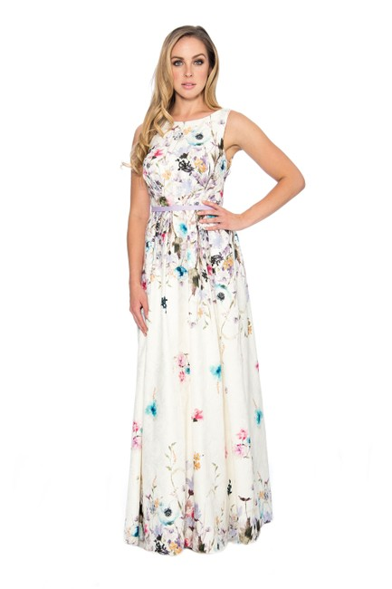 Item - Ivory French Printed A-line Long Formal Dress Size 14 (L)