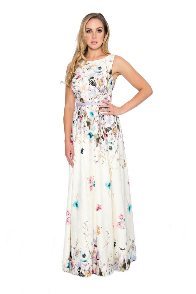 f017f1f55c27 Decode 1.8 Ivory French Printed A-line Long Formal Dress Size 16 (XL ...