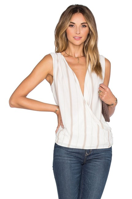 Item - Wrap Stripe Tan White Blouse Size 2 (XS)