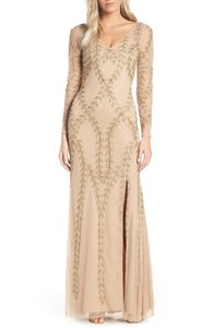 Adrianna Papell Gold/Champagne Polyester Embellished Mesh Gown Formal Bridesmaid/Mob Dress Size 10 (M)