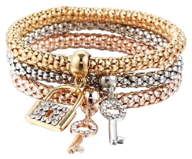 Unbranded Gold Plated Crystal Lock & Key Charm 3pcs Set Bracelet Unbranded Gold Plated Crystal Lock & Key Charm 3pcs Set Bracelet Image 1