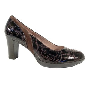 Beautifeel Embroidered Patent Leather High Dark Brown Pumps