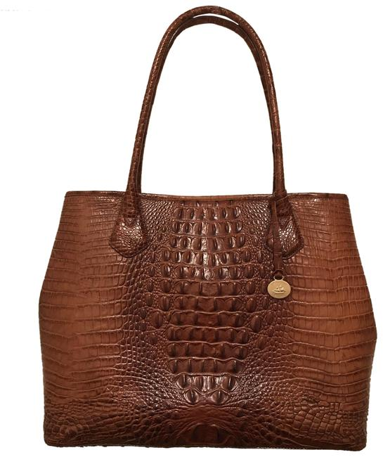 Item - Lg. Melbourne Anytime Expandable Brown Gold Leather Tote