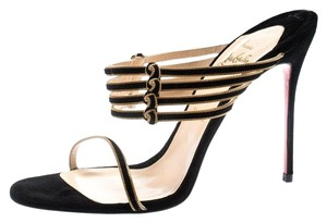 Christian Louboutin Suede Strappy Leather Black Sandals