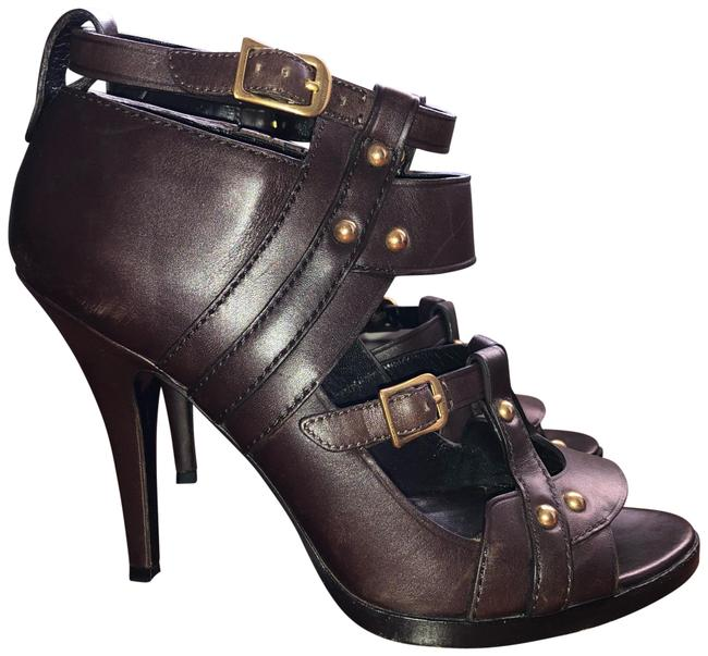 Item - Brown (Cocoa) Studded Cut Out Ankle Strap Gladiator Sandals Formal Shoes Size US 6.5 Regular (M, B)