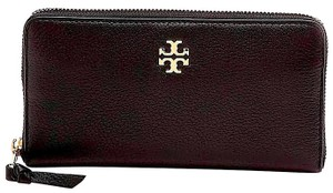 Tory Burch Black/Gold with Tag Black/Gold /Gold Zip Continental Wallet