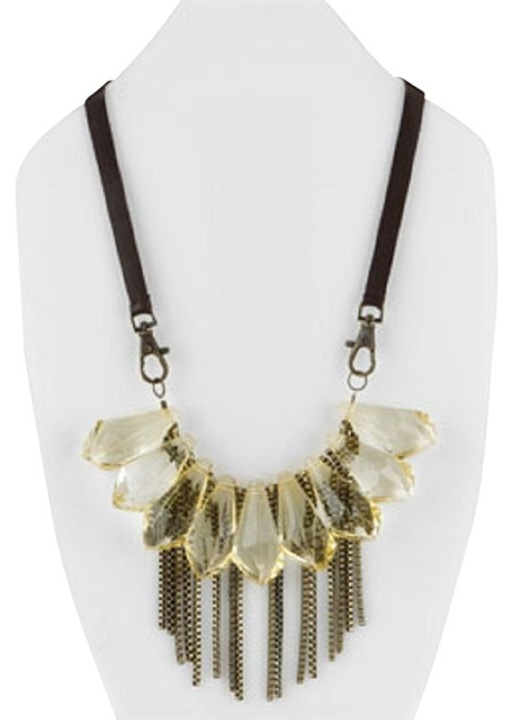 Item - Topaz Brown & Bronze Colorado Lucite Leather Chunky Statement Necklace