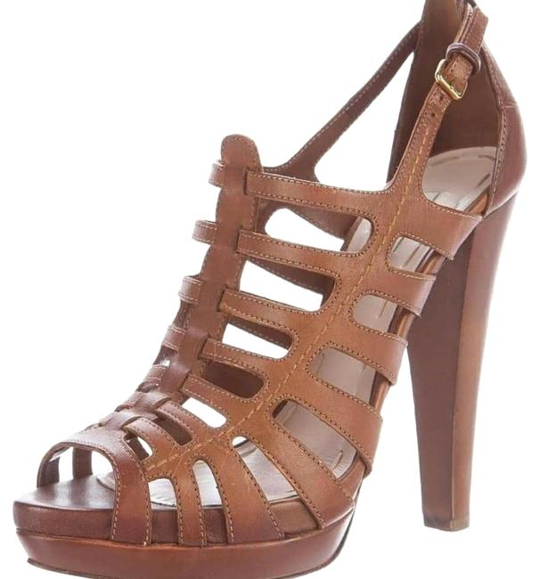 Item - Beige Cognac Leather Cage Sandals Size US 8 Regular (M, B)