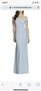 Dessy Mist Blue Off The Shoulder Formal Bridesmaid/Mob Dress Size 4 (S)