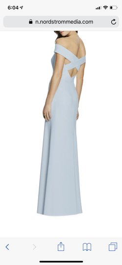 Dessy Mist Blue Off The Shoulder Formal Bridesmaid/Mob Dress Size 4 (S) Image 1