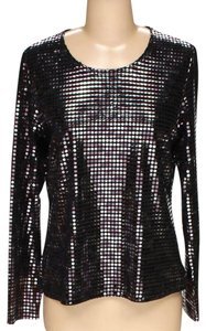 Laura Ashley Metallic Sequin Silver Party Glitter Top Black, Grey, Pink