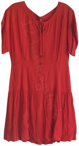 Free People short dress Coral-Rust Drawstring Boat Neck Empire Drop Waist Cuffed Short Sleeves Button-down Closure Flare Full Skirt on Tradesy