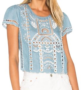 Lovers + Friends Boho Bohemian Embellished Embroidered Revolve Top Blue / Chambray / White