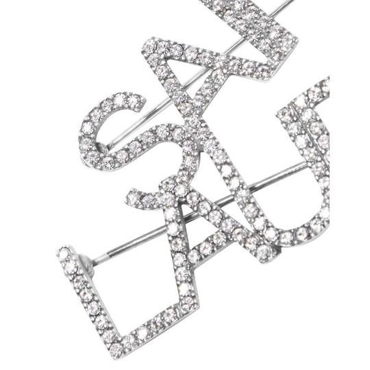 Saint Laurent Crystal silver tone brooch Image 3