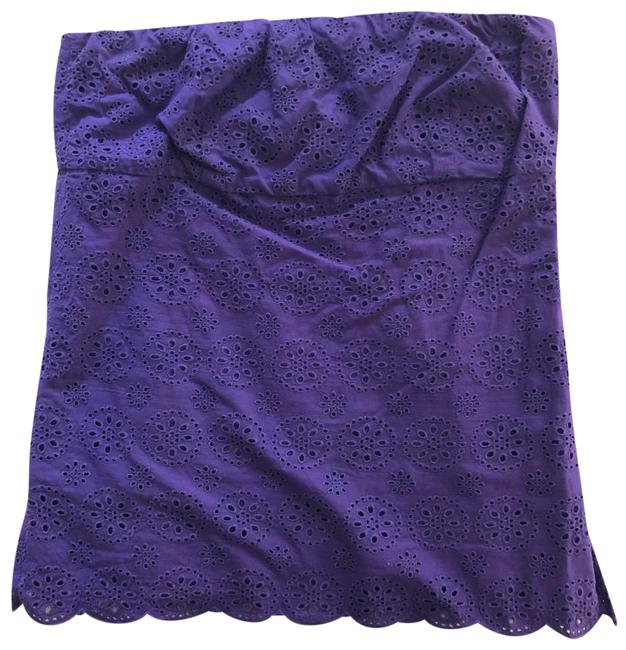J.Crew Eyelet Strapless Purple Top J.Crew Eyelet Strapless Purple Top Image 1