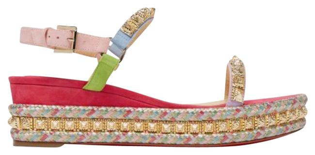 Christian Louboutin Pink Pyradiams Multi Color Gold Suede Sandal Wedges Size EU 37 (Approx. US 7) Regular (M, B) Christian Louboutin Pink Pyradiams Multi Color Gold Suede Sandal Wedges Size EU 37 (Approx. US 7) Regular (M, B) Image 1