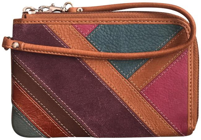 Item - Brown and Multi-colored Stripes Leather Suede Wristlet