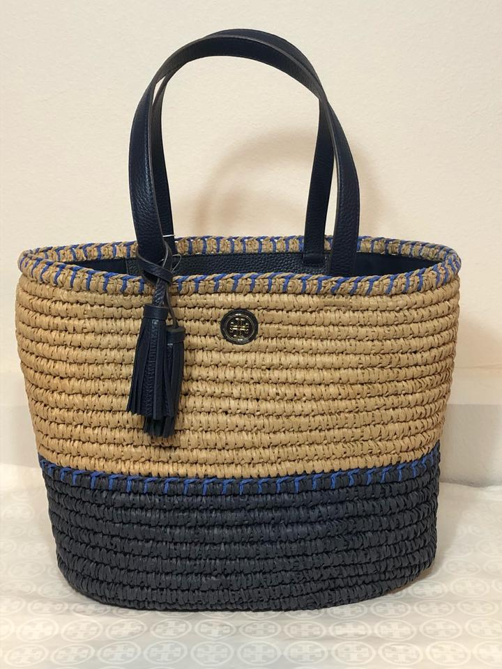 a61d3a56 Tory Burch New Summer Tote Purse Natural Navy Blue Straw Beach Bag